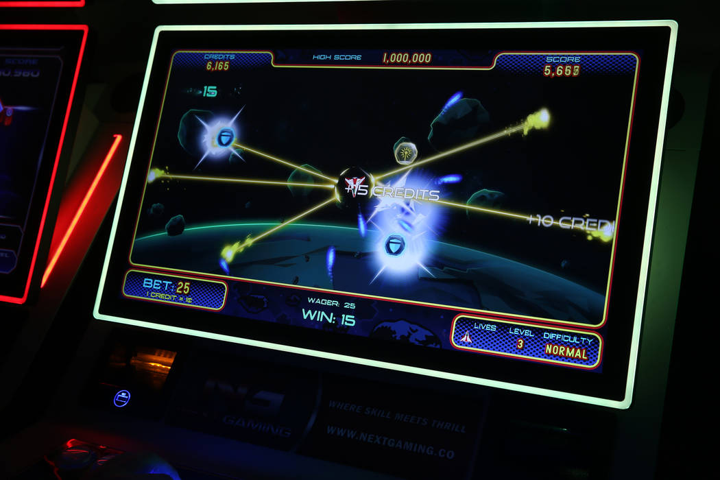 A soon-to-be-released slot machine based on the Asteroids arcade game at Next Gaming in North L ...