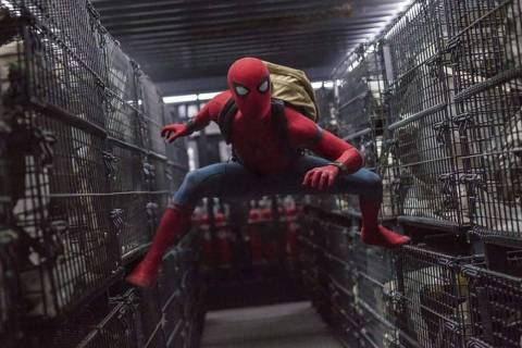 "This image released by Columbia Pictures shows Tom Holland in a scene from ""Spider-Man: Homecom ..."