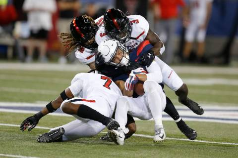Texas Tech defense during an NCAA football game against Arizona on Saturday, Sept. 14, 2019 in ...