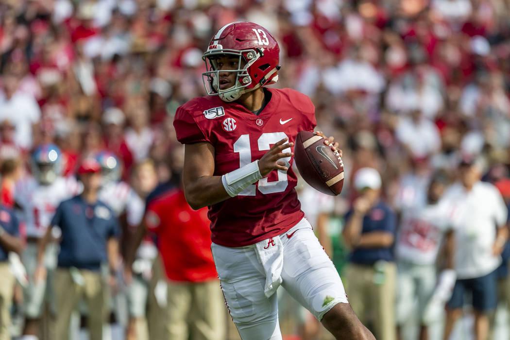 Alabama quarterback Tua Tagovailoa (13) looks to throw against Mississippi during the first hal ...