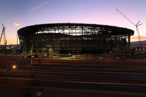 Allegiant Stadium during sunset in Las Vegas, Sept. 7, 2019. (Erik Verduzco / Las Vegas Review- ...