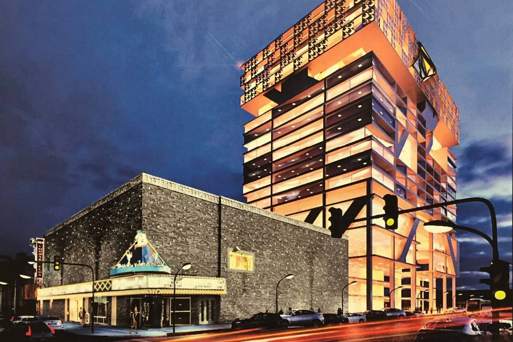 A rendering of the mixed-use tower in downtown Las Vegas. (Courtesy, 601 Fremont LLC)