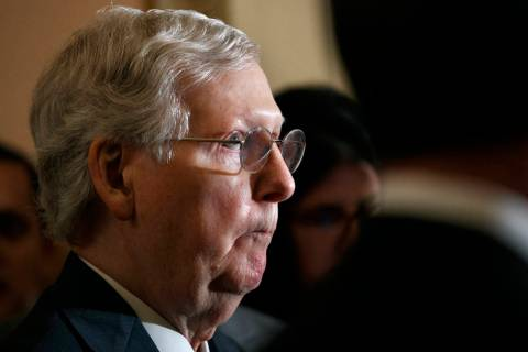 Senate Majority Leader Mitch McConnell of Ky. attends a news conference with members of the Sen ...