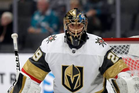 Vegas Golden Knights goaltender Marc-Andre Fleury (29) against the San Jose Sharks during an NH ...