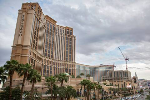 Cars pass by Palazzo on the Strip on Thursday, May 9, 2019, in Las Vegas. (Benjamin Hager/Las V ...