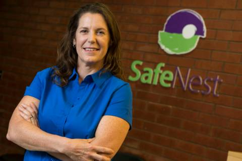 Safe Nest CEO Liz Ortenburger at her office in Las Vegas on Wednesday, Oct. 3, 2018. Richard Br ...