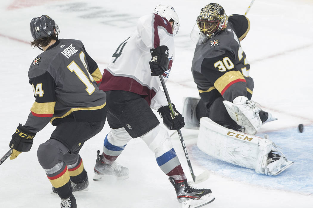 Vegas Golden Knights goaltender Malcolm Subban (30) makes a save against Colorado Avalanche lef ...