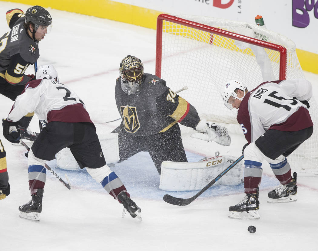 Vegas Golden Knights goaltender Malcolm Subban (30) makes a save against Colorado Avalanche rig ...
