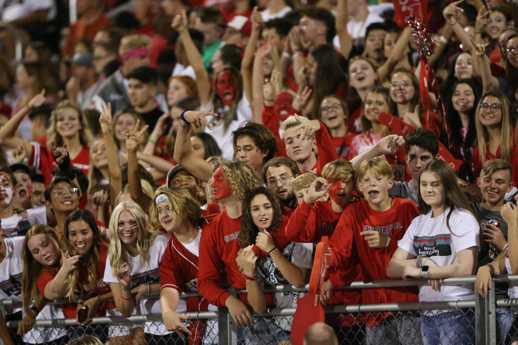 Arbor View students during a football game against Centennial at Arbor View High School in Las ...