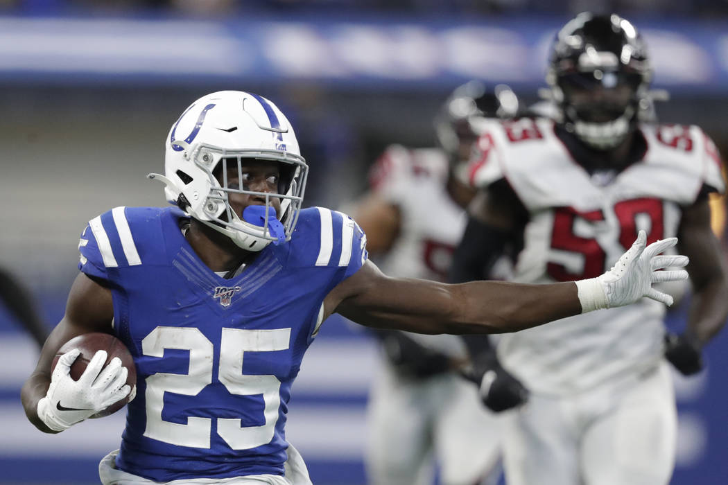 Indianapolis Colts running back Marlon Mack (25) runs during the second half of an NFL football ...