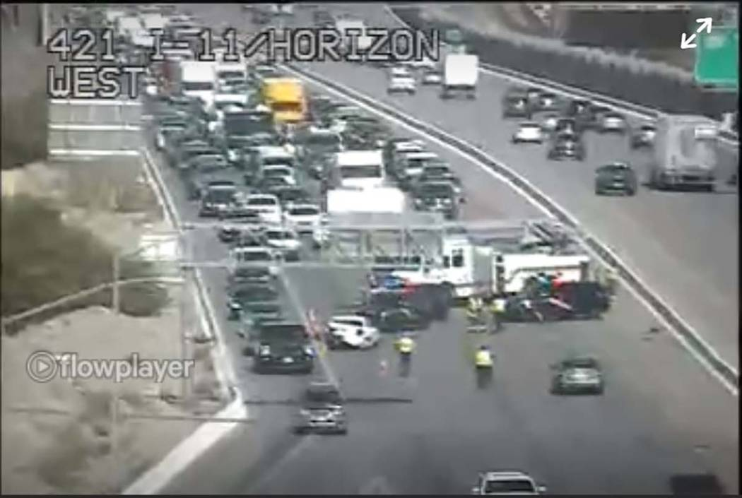 A crash blocks a portion of U.S. Highway 95 South at Horizon Drive in Henderson. (RTC Traffic C ...
