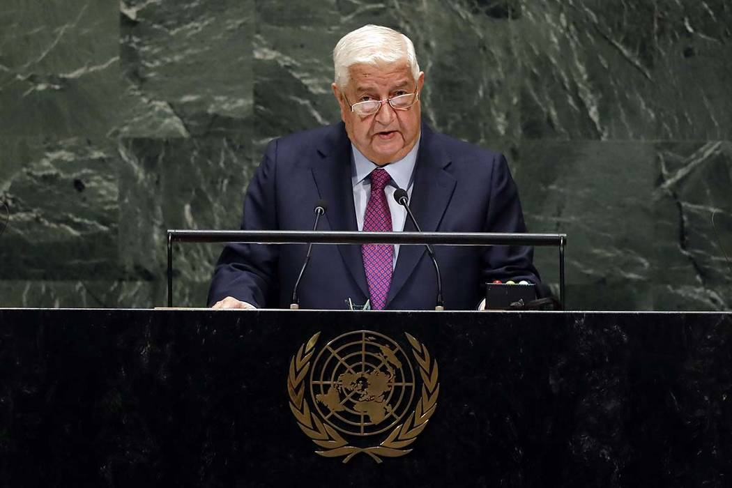 Syria's Deputy Prime Minister Walid Al-Moualem addresses the 74th session of the United Nations ...