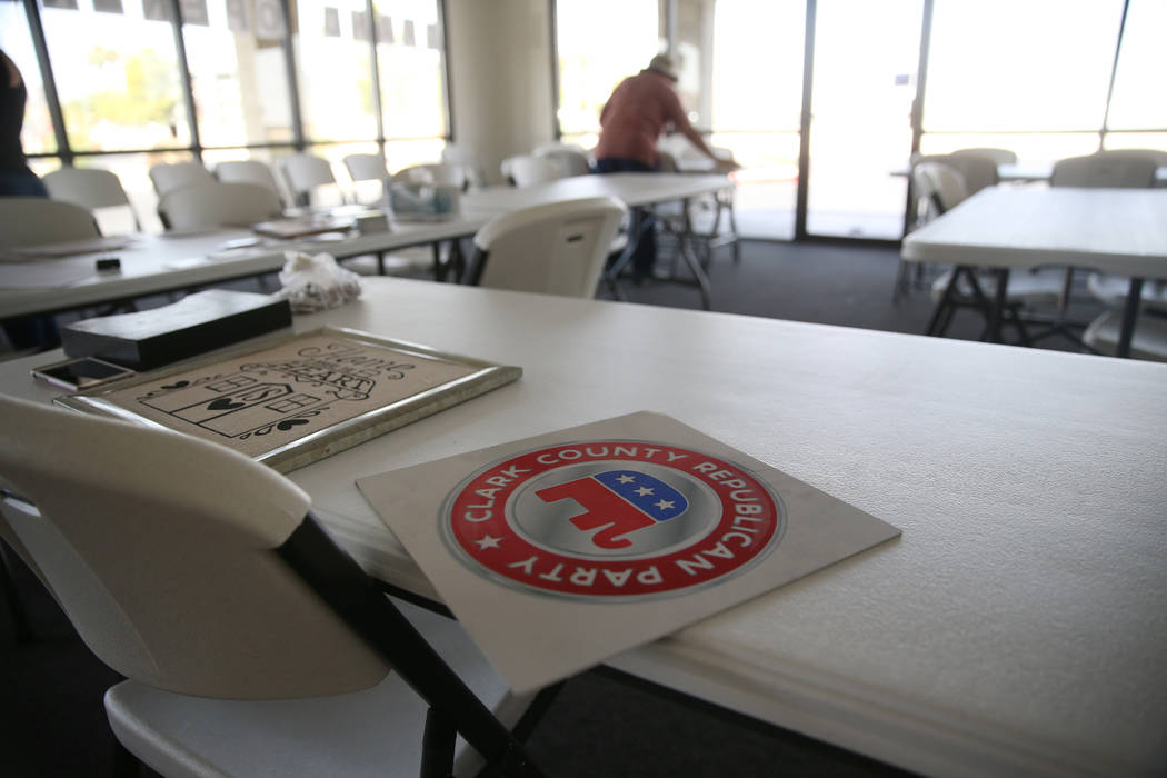 The Clark County Republican Party headquarters in Las Vegas after a break-in earlier in the mor ...