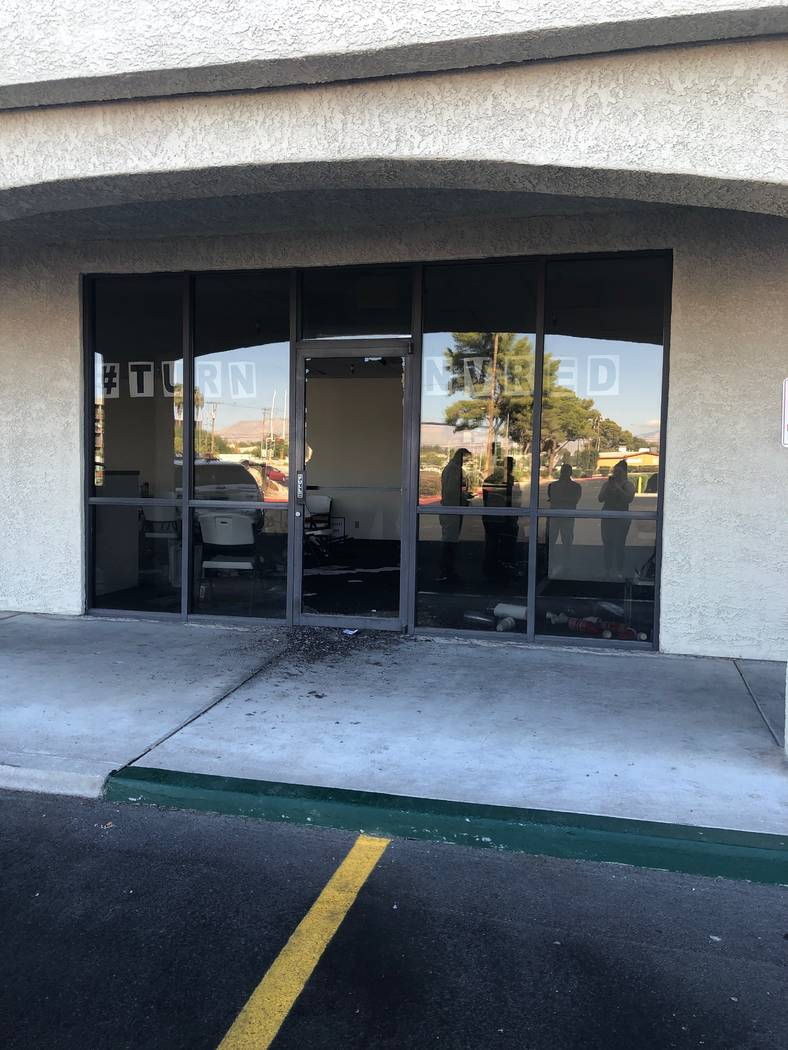 A broken door at the Clark County Republican Party office on Saturday, Sept. 29, 2019. (Tiffany ...