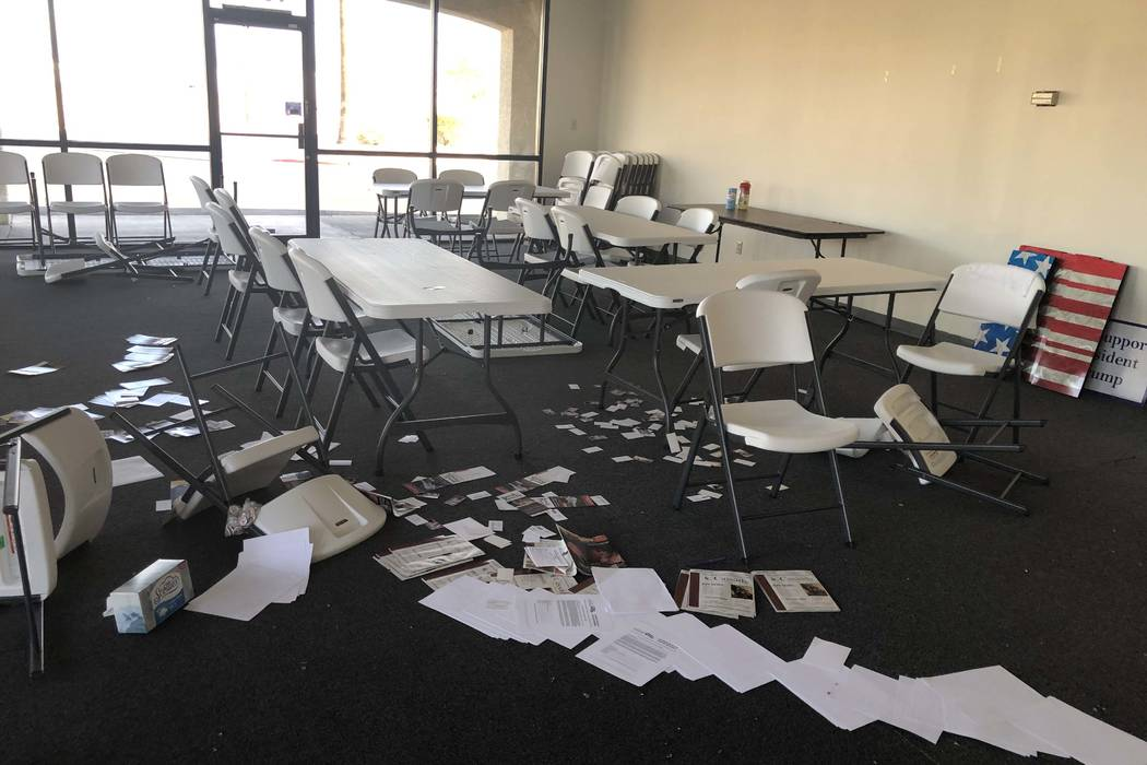 Papers are strewn about the office of the Clark County Republican Party following a break-in on ...