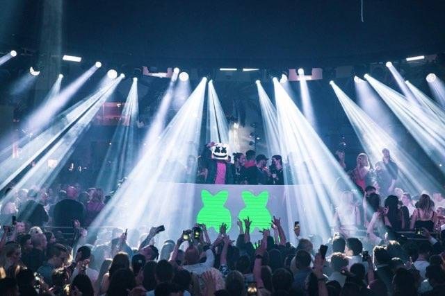 Superstar DJ Marshmello is shown at the opening-night scene at Kaos Nightclub and Dayclub at th ...