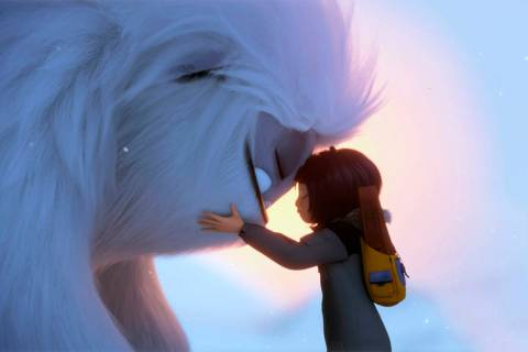 This image released by DreamWorks Animation shows Everest the Yeti, left, and Yi, voiced by Chl ...