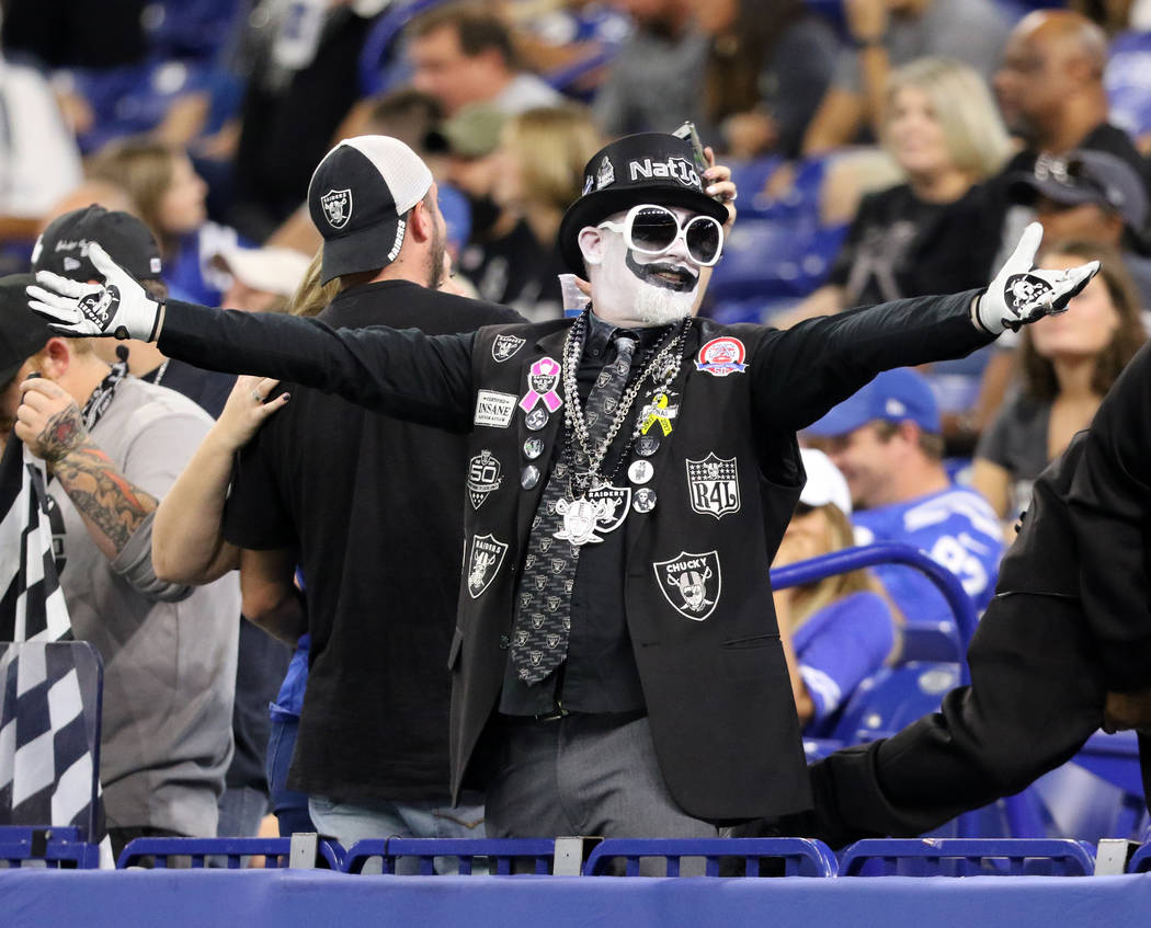 An Oakland Raiders fan during the fourth quarter of an NFL game against the Indianapolis Colts ...