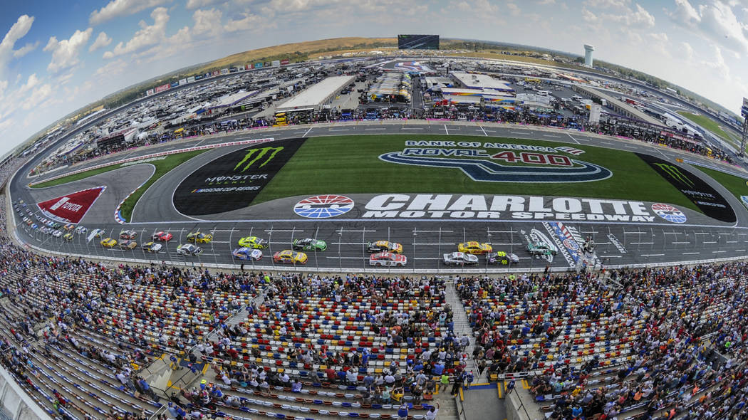 William Byron (24) leads the field to the start of a NASCAR Cup Series auto race at Charlotte M ...