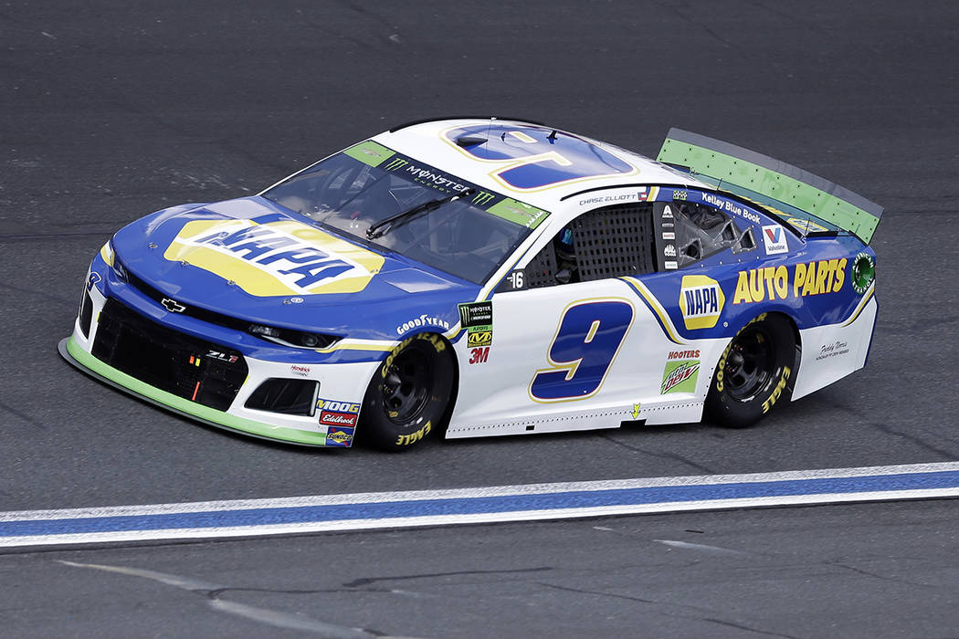 Chase Elliott drives through Turn 4 during the NASCAR Cup Series auto race at Charlotte Motor S ...