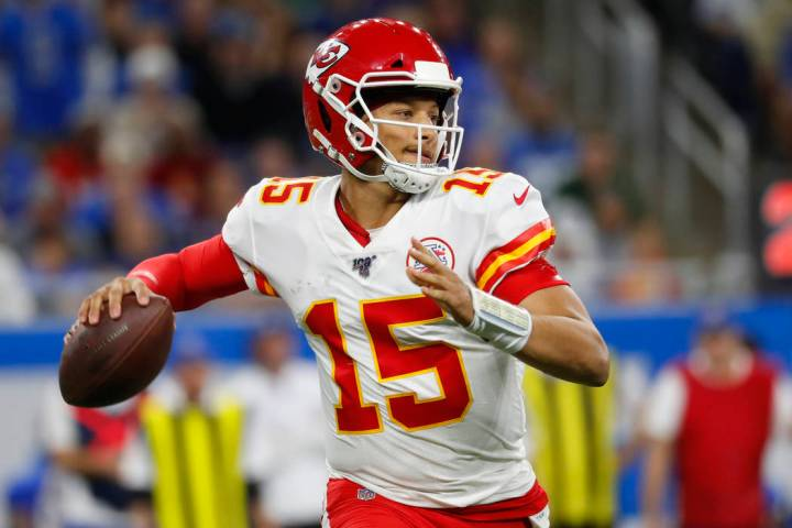 Kansas City Chiefs quarterback Patrick Mahomes throws during an NFL football game against the D ...