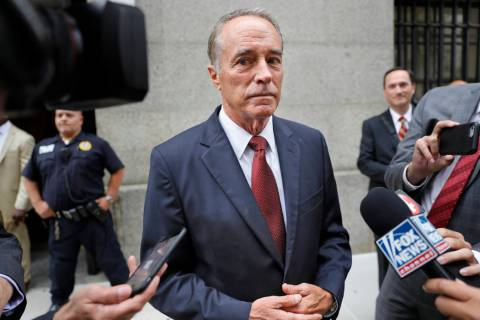 In a Sept. 12, 2019, file photo, U.S. Rep. Chris Collins, R-N.Y., speaks to reporters as he lea ...