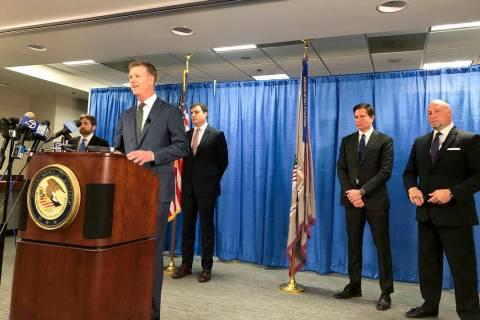 US attorney David Anderson announces criminal spy charges against a San Francisco Bay Area tour ...