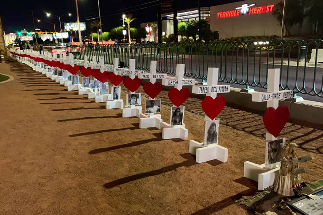 Greg Zannis was back on the Las Vegas Strip with 58 new crosses to honor the victims of the Oct ...