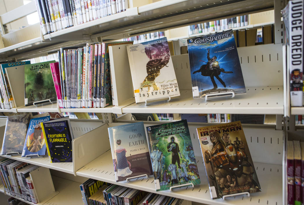 Graphic novels available at Windmill Library in Las Vegas on Wednesday, July 25, 2018. Chase St ...