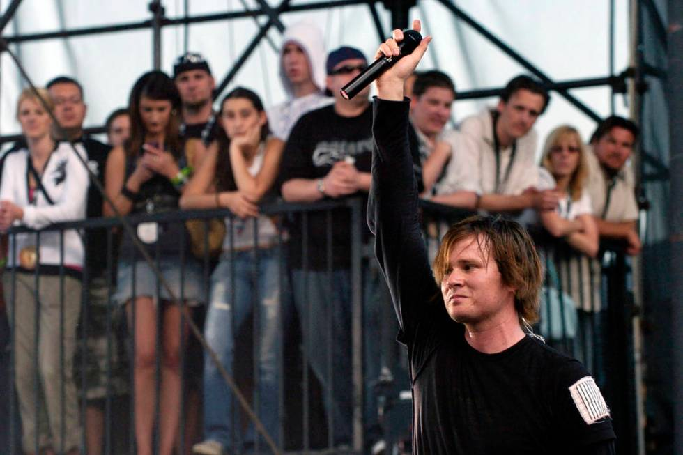 Singer Tom DeLonge of the band Angels & Airwaves performs during the band's set at the annu ...