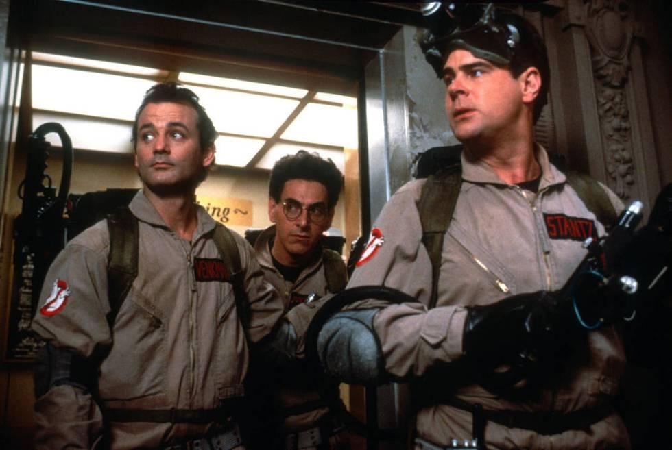 From left, Bill Murray (as Dr. Peter Venkman), Dan Aykroyd (as Dr. Raymond Stantz), Ernie Hudso ...