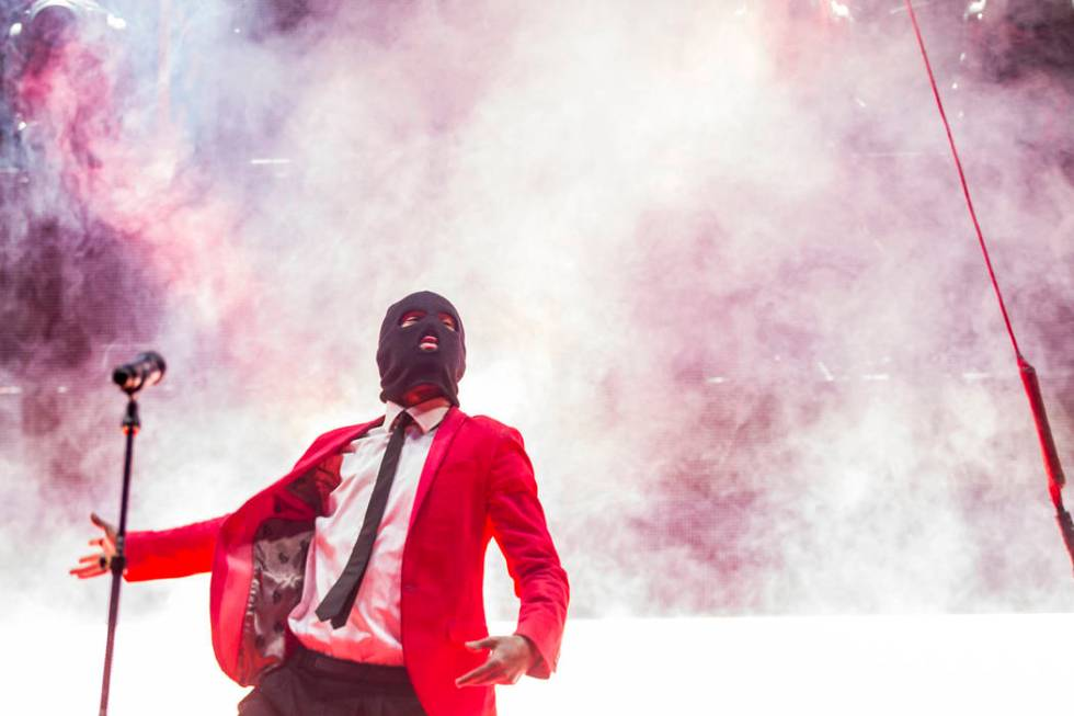 Tyler Joseph of Twenty One Pilots performs at the Mandalay Bay Events Center in Las Vegas on Sa ...
