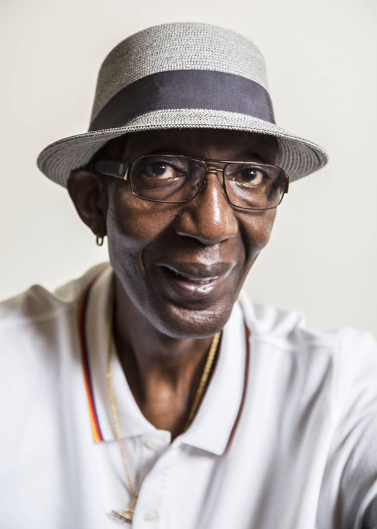 George Bell, the tallest living American, at his home in Las Vegas on Thursday, Aug. 1, 2019. ( ...