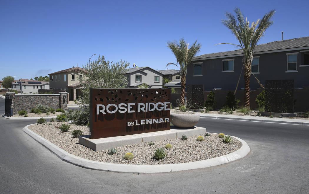 Lennar's Rose Ridge subdivision in Henderson, Wednesday, Aug. 21, 2019. (Erik Verduzco / Las Ve ...