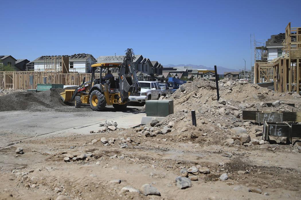 Construction at Lennar's Rose Ridge subdivision in Henderson, Wednesday, Aug. 21, 2019. (Erik V ...