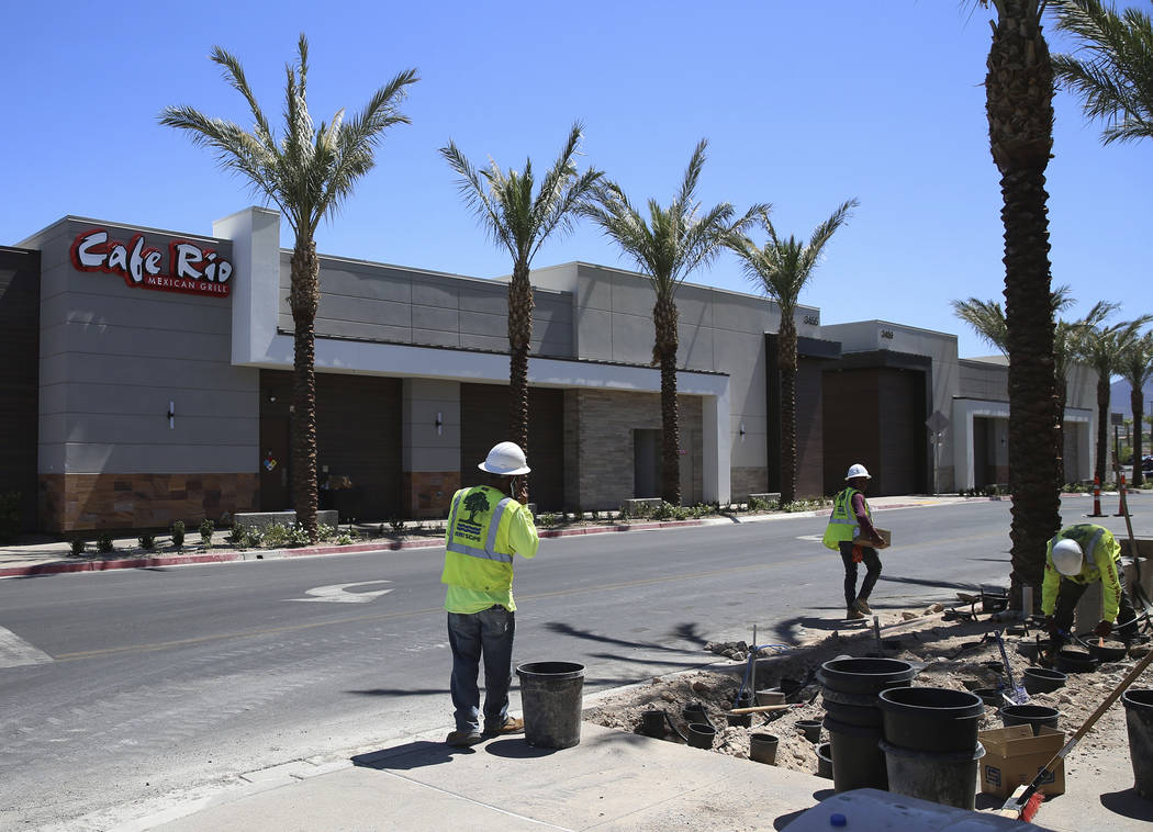 Construction at the St. Rose Square retail center in Henderson, Wednesday, Aug. 21, 2019. (Erik ...