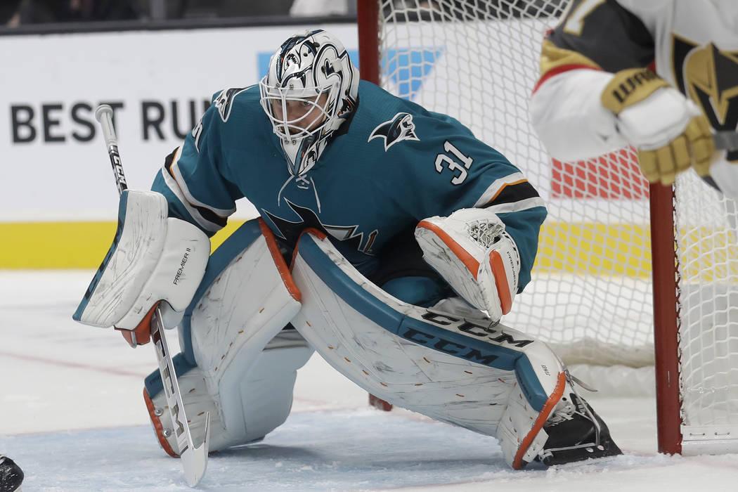 San Jose Sharks goaltender Martin Jones (31) defends his net during the second period of an NHL ...