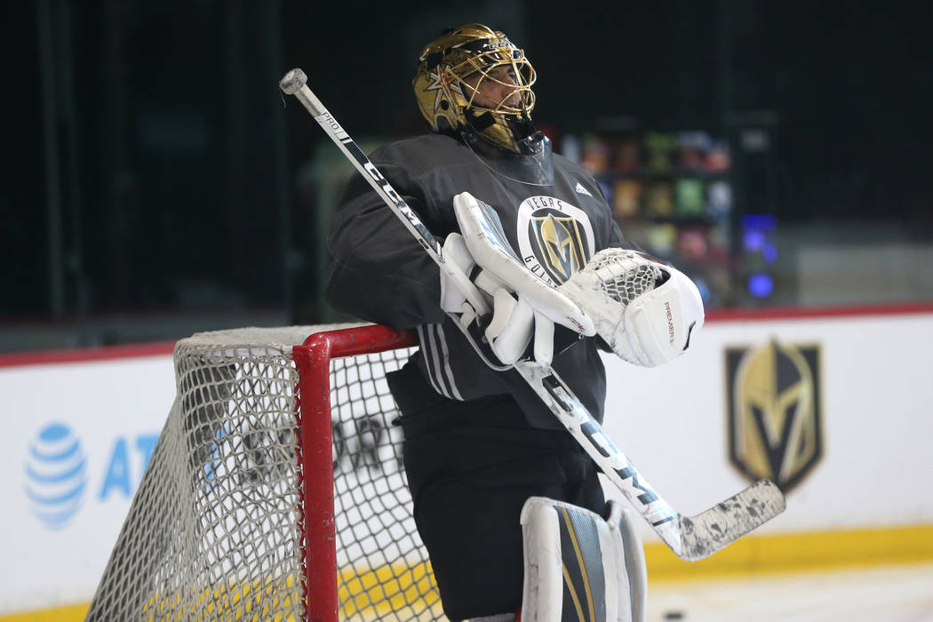 Vegas Golden Knights goaltender Marc-Andre Fleury (29) during a team practice at City National ...