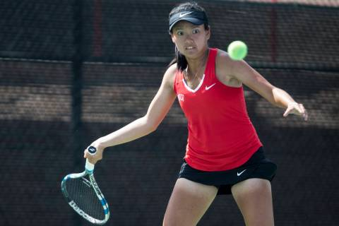 UNLV senior En-Pei Huang, shown in 2017, teamed with junior Izumi Asano to win the doubles titl ...