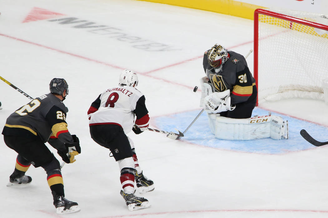 Vegas Golden Knights goaltender Malcolm Subban (30) defends a shot from Arizona Coyotes right w ...