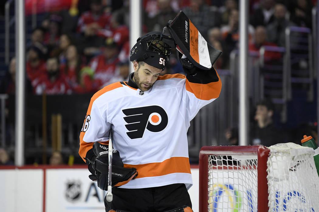 In this Tuesday, Jan. 8, 2019 file photo, Philadelphia Flyers goaltender Mike McKenna (56) stan ...