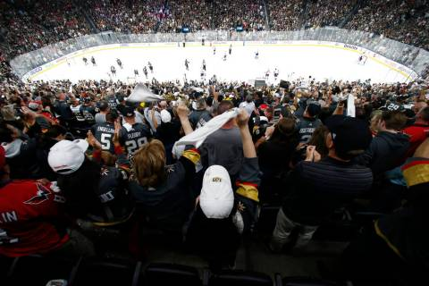 FILE - In this May 28, 2018, file photo, fans celebrate a goal by Vegas Golden Knights left win ...