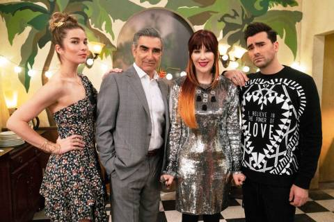 From left, Annie Murphy, Eugene Levy, Catherine O'Hara and Daniel Levy star in the Emmy-nomin ...