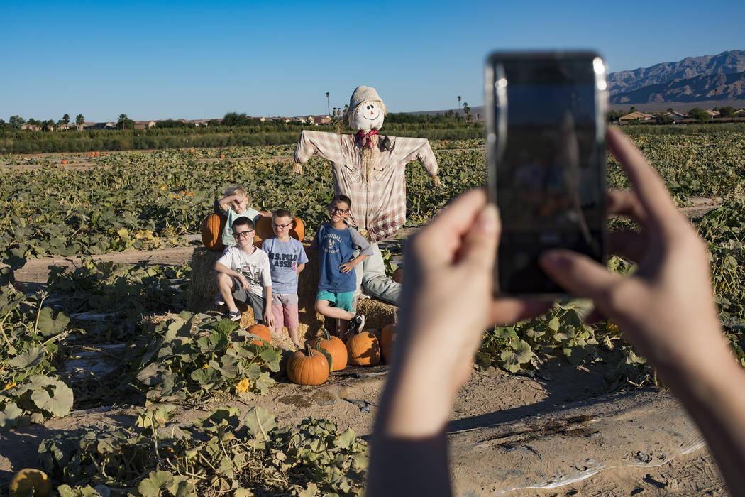 Tara W. takes a photo of her children Elijah W., 9, from left, Emma-lee W., 5, Dennis W., 7, an ...