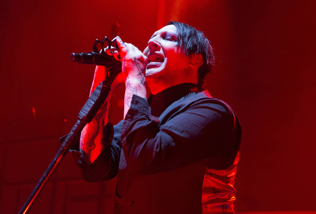 """Marilyn Manson performs in concert during the opening night of the """"Twins of Evil Tour,&qu ..."""