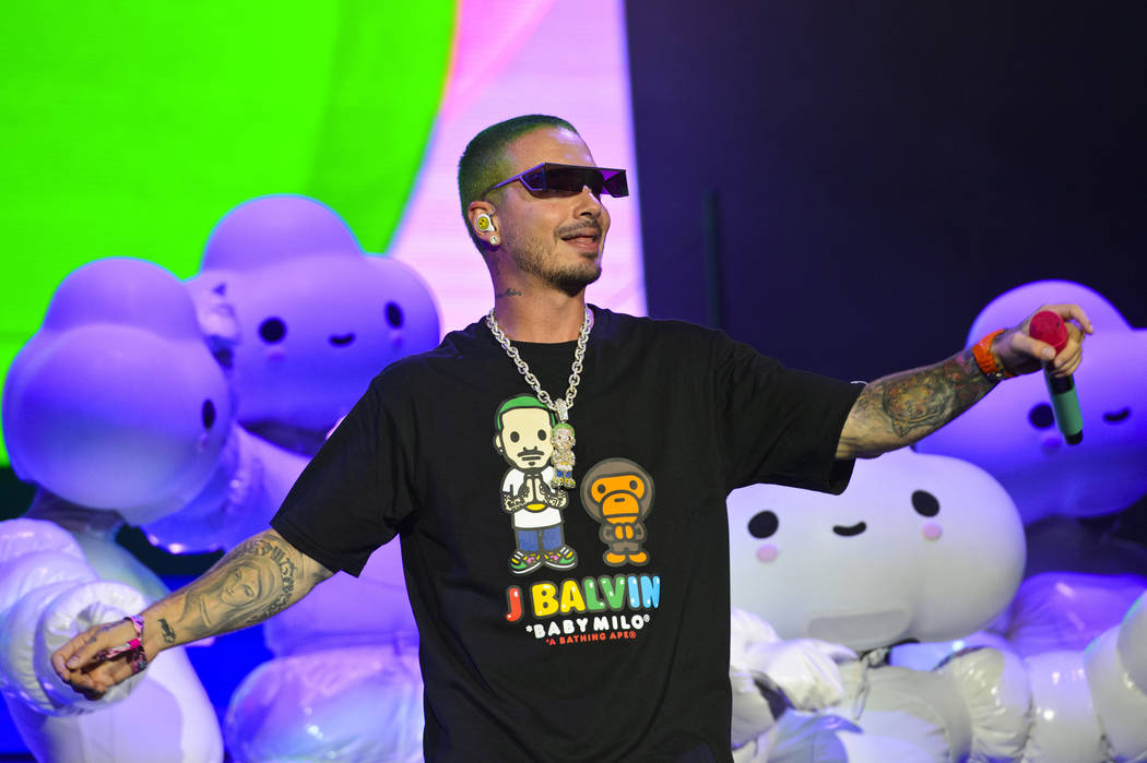 J Balvin performs on day three of Lollapalooza in Grant Park on Saturday, Aug. 3, 2019, in Chic ...