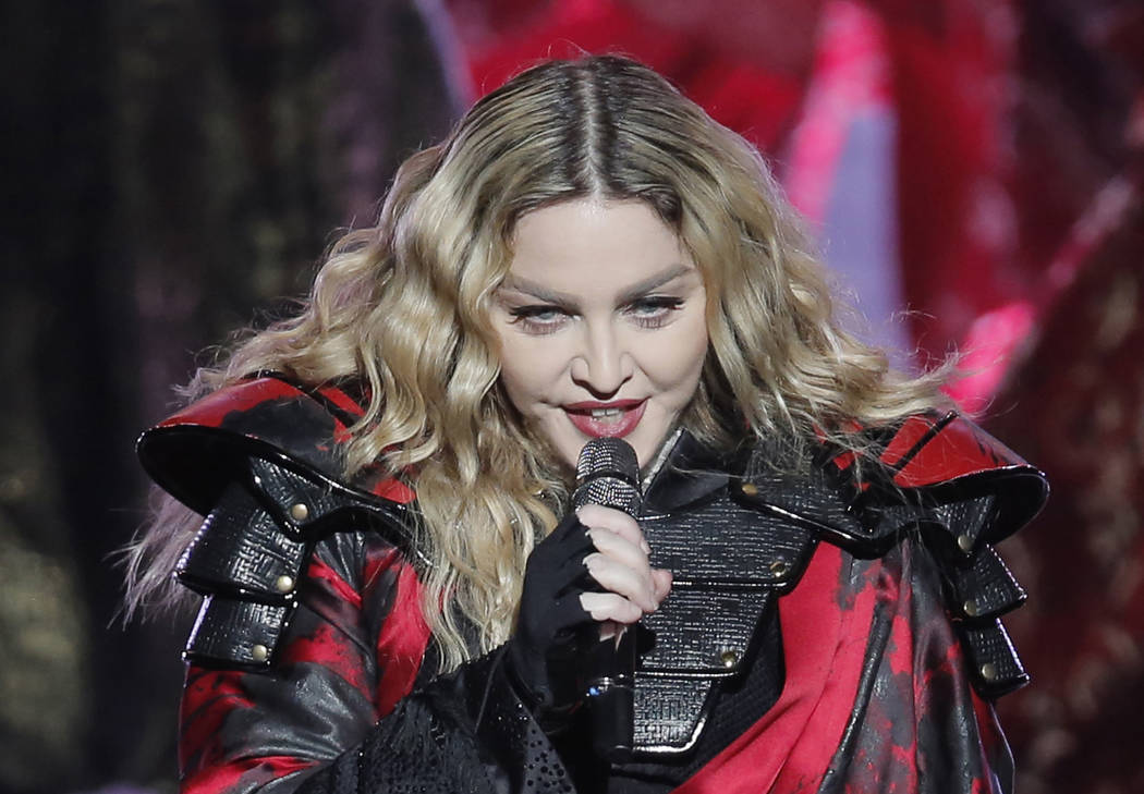 FILE - In this Feb. 20, 2016 file photo, Madonna performs during the Rebel Heart World Tour in ...