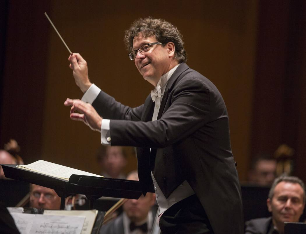 Music Director Donato Cabrera directs the Las Vegas Philharmonic on Saturday, Sept. 7, 2019, at ...