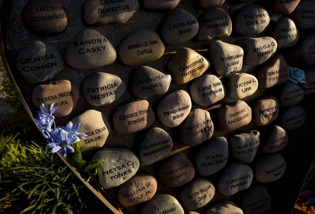 Stones inscribed with the names of the 58 Oct. 1 victims at the Las Vegas Healing Garden in Las ...