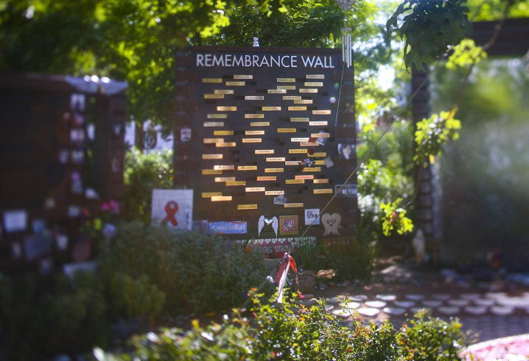 The Remembrance Wall at the Las Vegas Healing Garden in Las Vegas on Tuesday, Sept. 17, 2019. ( ...